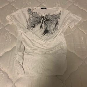 Loose white graphic T